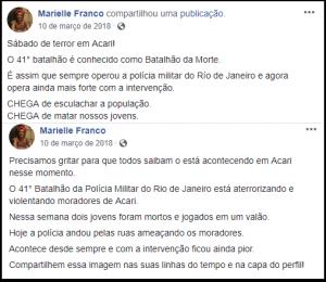 Marielle Franco - Publicação na rede social da vereadora
