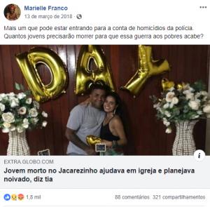Marielle Franco - vereadora denuncia mortes feitas pela polícia